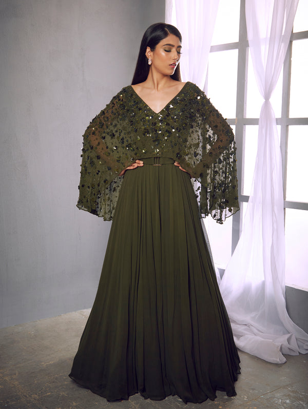 Shloka Khialani-Olive Green Embroidered Gown With Belt-INDIASPOPUP.COM