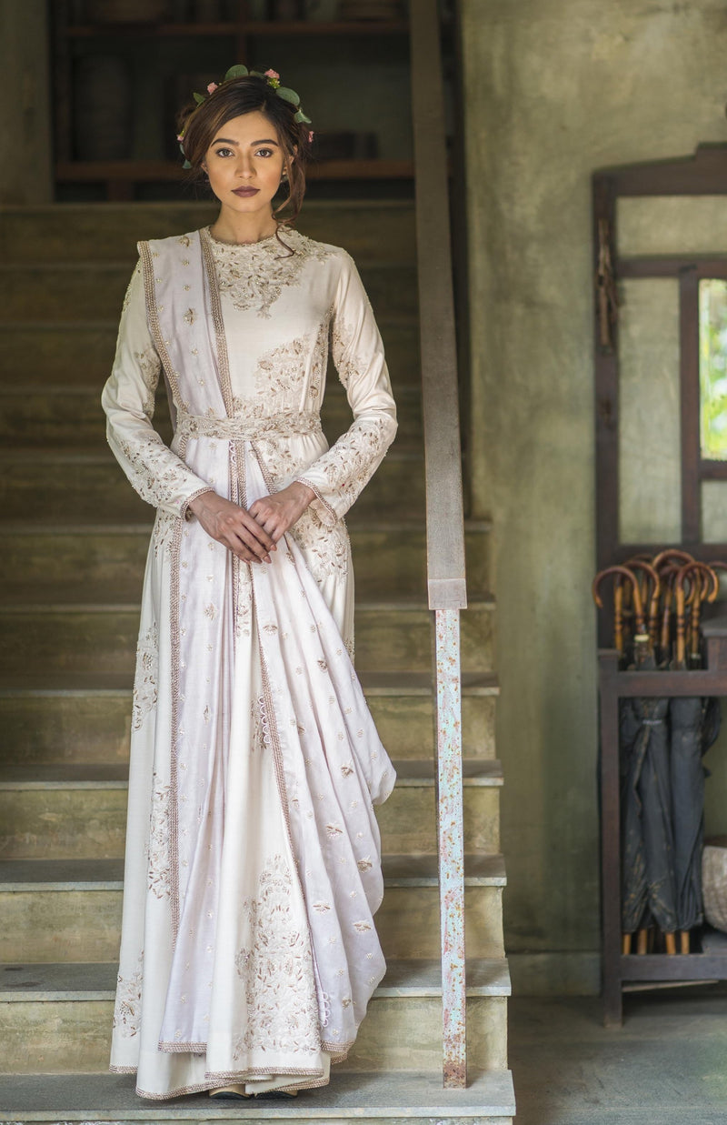 Aarbee By Ravi Bhalotia - Ivory Embroidered Gown With Dupatta - INDIASPOPUP.COM