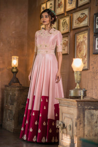 AARBEE BY RAVI BHALOTIA PINK & MAROON PRINTED EMBROIDERED GOWN