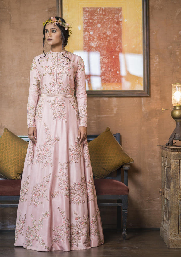 Aarbee By Ravi Bhalotia - Light Pink Floral Embroidered Gown - INDIASPOPUP.COM