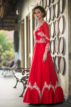 Aarbee By Ravi Bhalotia - Red Embroidered Gown - INDIASPOPUP.COM
