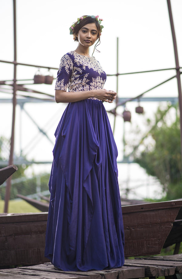 Aarbee By Ravi Bhalotia - Deep Purple Embroidered Layered Gown - INDIASPOPUP.COM
