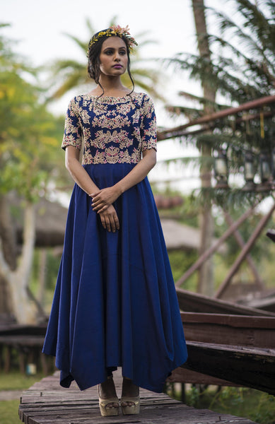 AARBEE BY RAVI BHALOTIA INDIGO ASYMMETRIC TUNIC WITH PANTS