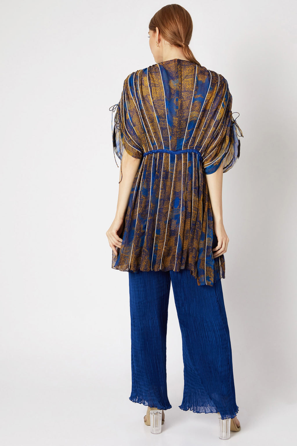 Saaksha & Kinni-Blue & Yellow Kaftan Dress-INDIASPOPUP.COM