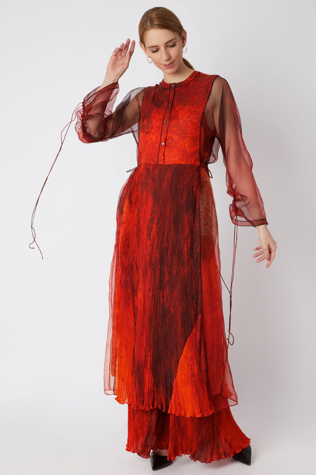 Red Micro Pleated Kurta