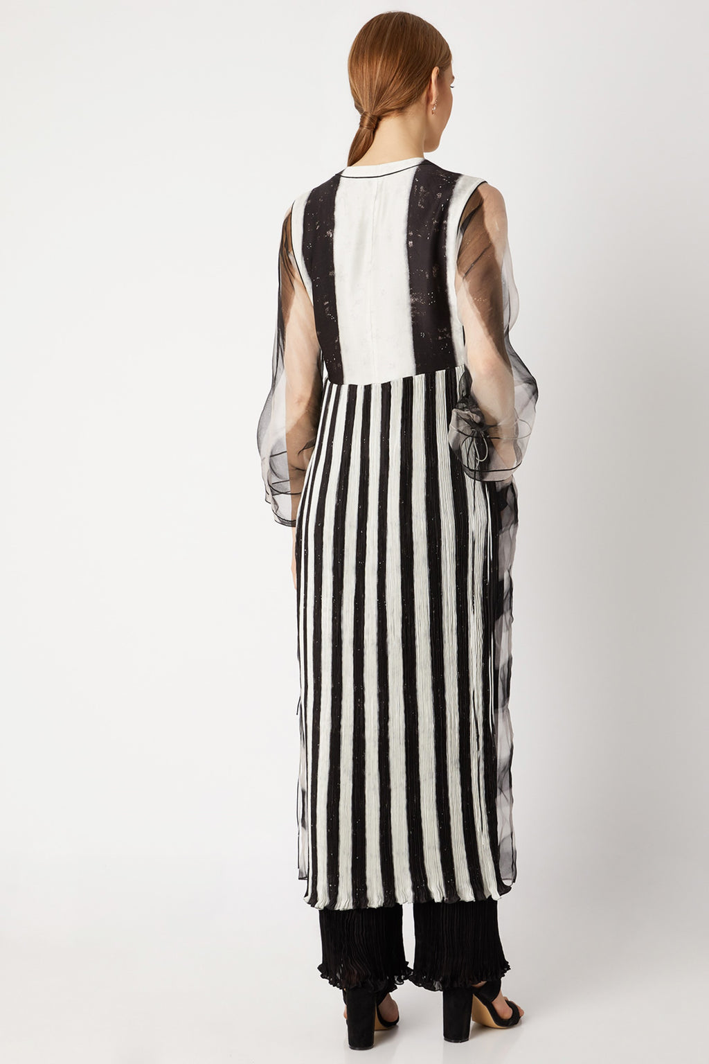 Black & White Micro Pleated Kurta