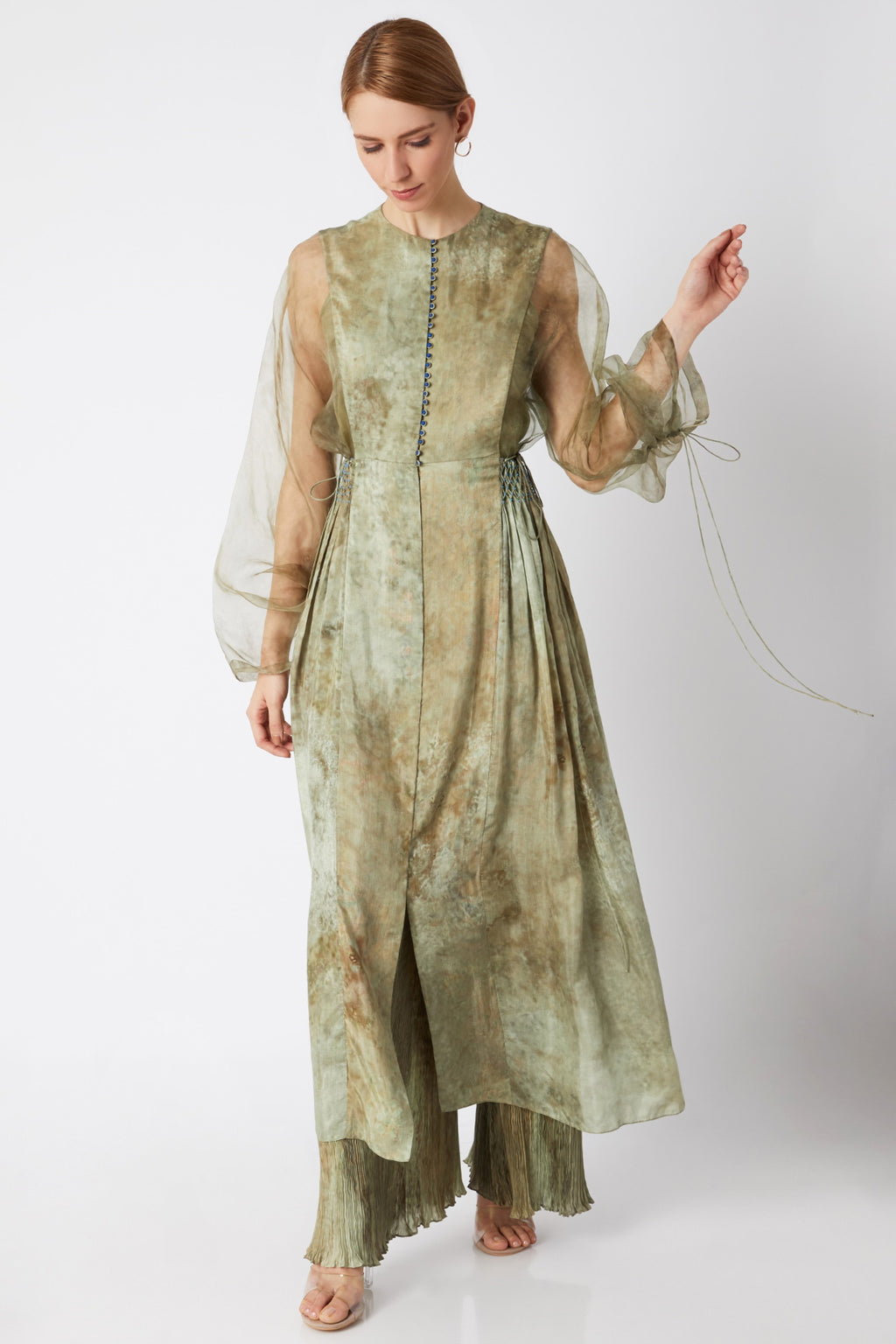 Stone Hand Pleated Kurta