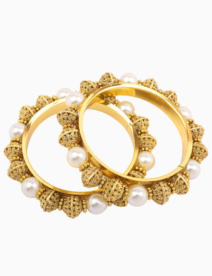 Sona Jewelry - Gold Plated Big Pearls Studded Bangels - INDIASPOPUP.COM