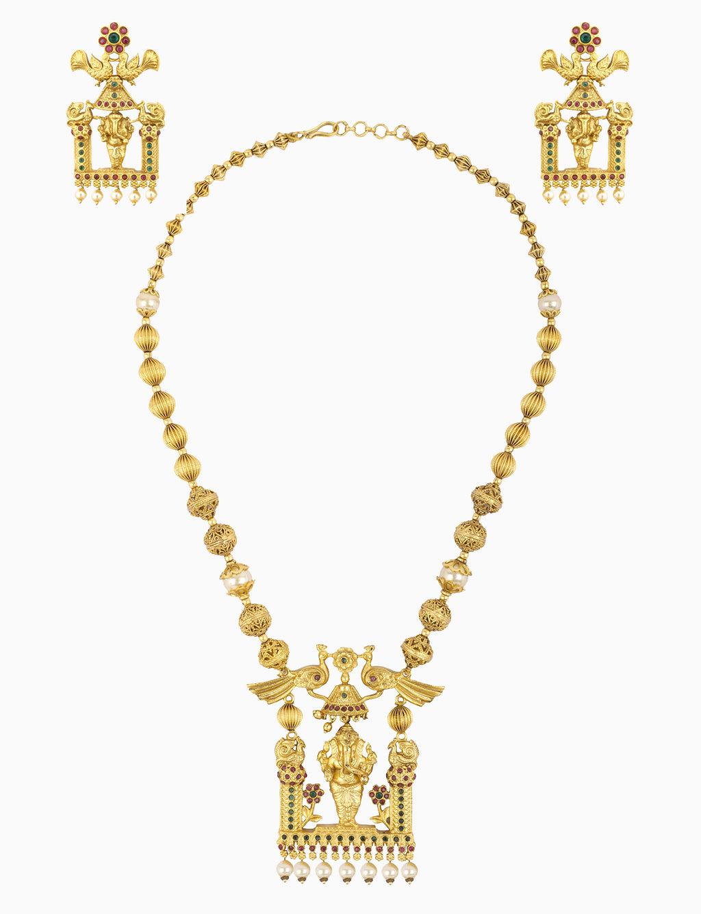 Sona Jewelry - Gold Plated Ganesh Motif Necklace Set - INDIASPOPUP.COM