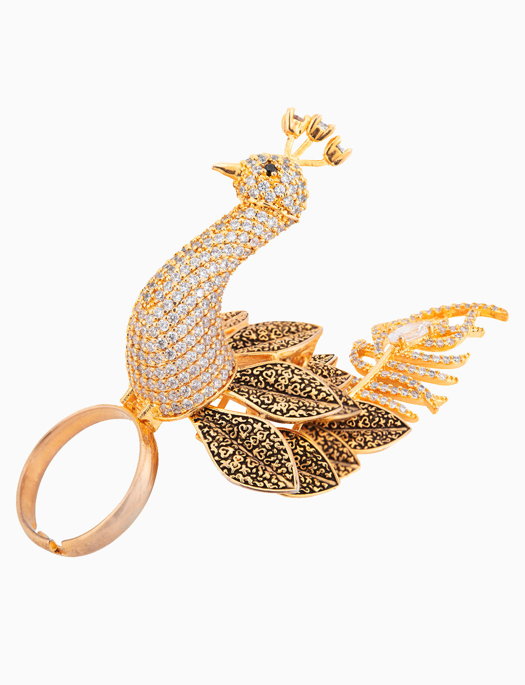 Sona Jewelry - Gold Plated Peacock Stirring Ring - INDIASPOPUP.COM