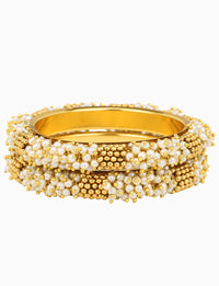 Sona Jewelry - Gold Plated Bangles With Pearl - INDIASPOPUP.COM
