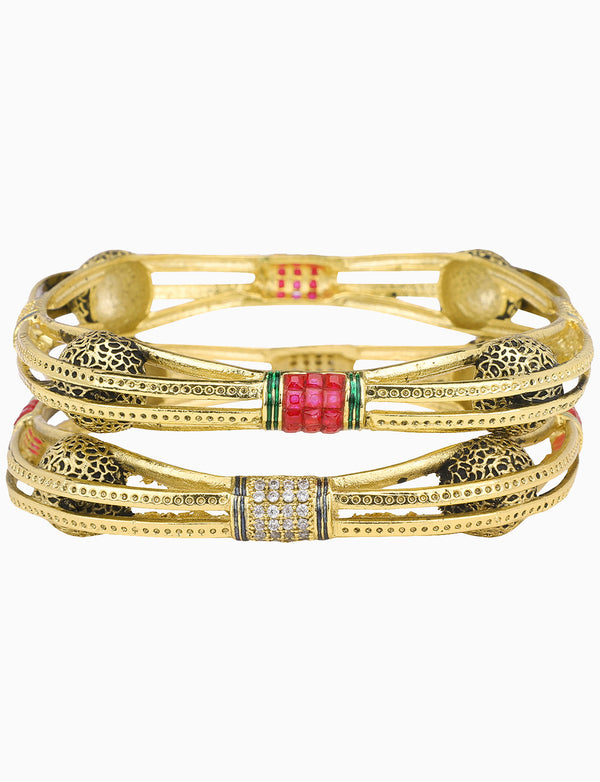 Sona Jewelry - Gold Plated Bangles With Stones & Pearls - INDIASPOPUP.COM