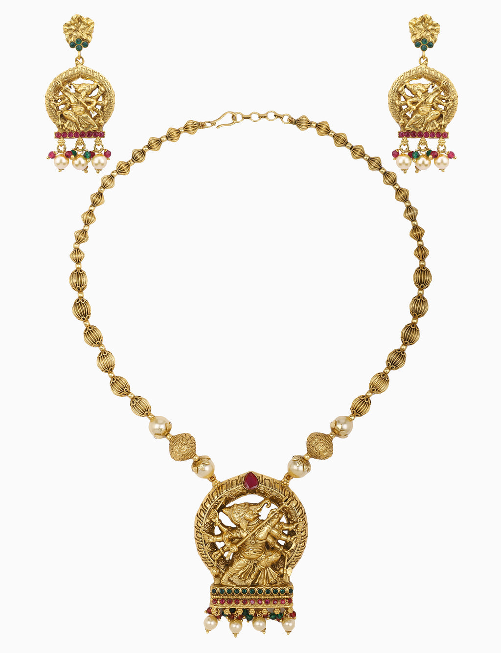 Sona Jewelry - Gold Plated Necklace Set With Durga Pendant - INDIASPOPUP.COM
