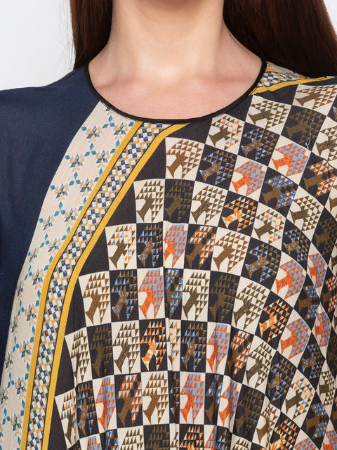 Soup By Sougat Paul - Blue & Yellow Top With Black Palazzo - INDIASPOPUP.COM
