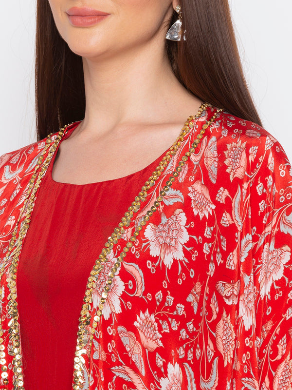 Soup By Sougat Paul - Red Dress With Jacket - INDIASPOPUP.COM
