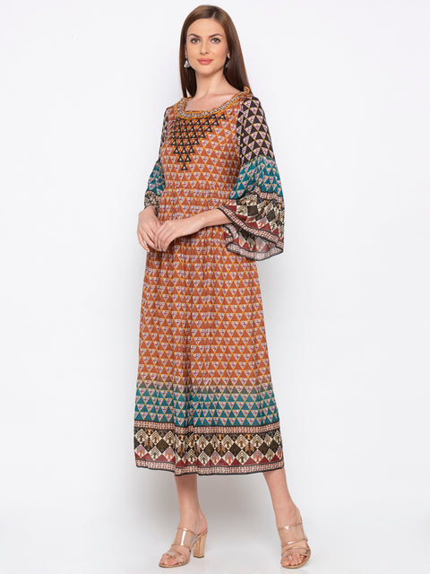 Soup By Sougat Paul - Brown & Blue Printed Dress - INDIASPOPUP.COM