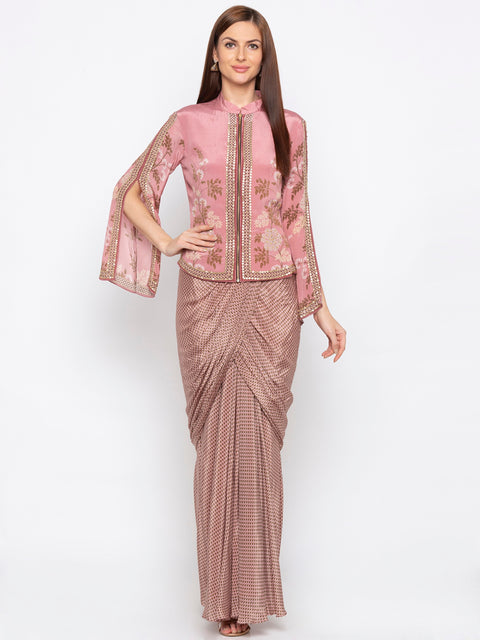 Soup By Sougat Paul - Pink Drape Skirt With Jacket - INDIASPOPUP.COM
