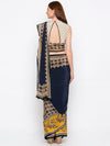 Soup By Sougat Paul - Navy Blue & Yellow Saree With Blouse - INDIASPOPUP.COM