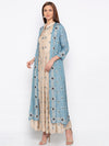 Soup By Sougat Paul - Powder Blue & Beige Dress With Jacket - INDIASPOPUP.COM