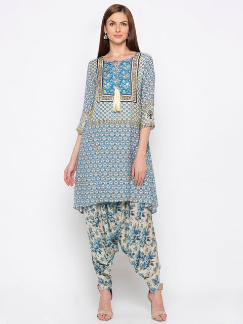 Soup By Sougat Paul - Blue & Off-White Top With Dhoti - INDIASPOPUP.COM
