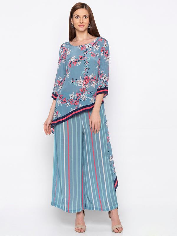 Soup By Sougat Paul - Blue & Pink Top With Palazzo - INDIASPOPUP.COM