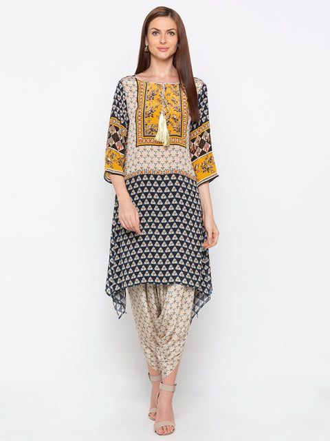 Soup By Sougat Paul - Navy Blue & Yellow Top With Dhoti - INDIASPOPUP.COM