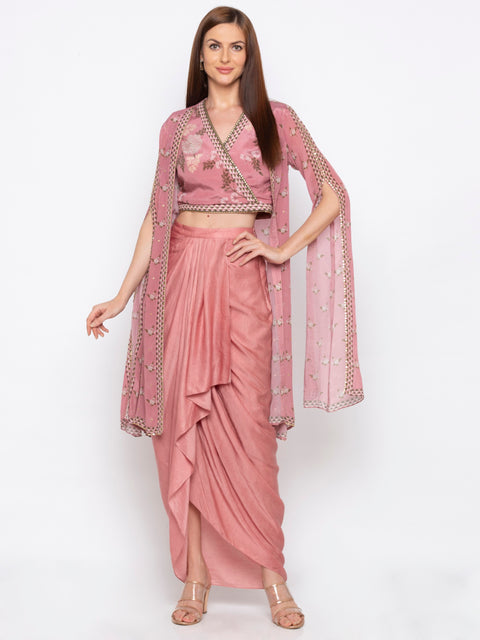 Soup By Sougat Paul - Pink Crop Top & Drape Skirt With  Jacket - INDIASPOPUP.COM