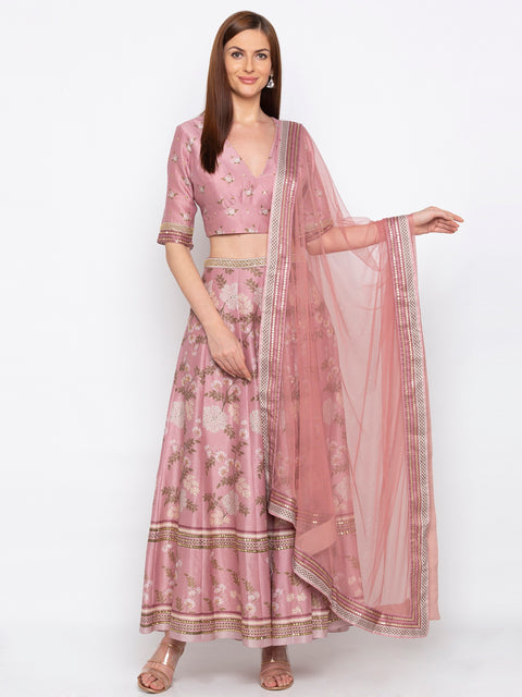 Soup By Sougat Paul - Pink Crop Top & Skirt With Dupatta - INDIASPOPUP.COM