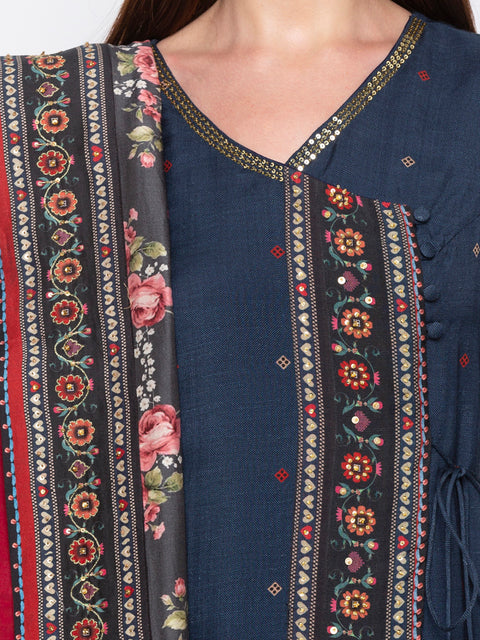 Soup By Sougat Paul - Blue & Red Kurta & Palazzo - INDIASPOPUP.COM