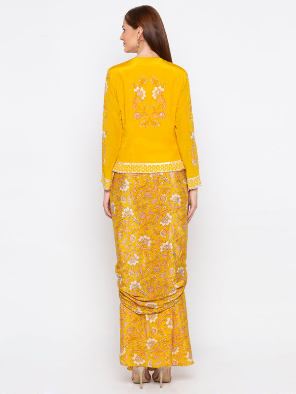 Soup By Sougat Paul - Yellow Jacket With Drape Skirt - INDIASPOPUP.COM