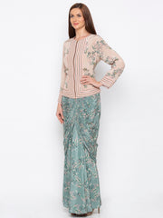 Soup By Sougat Paul - Teal Green & Beige Jacket With Drape Skirt - INDIASPOPUP.COM