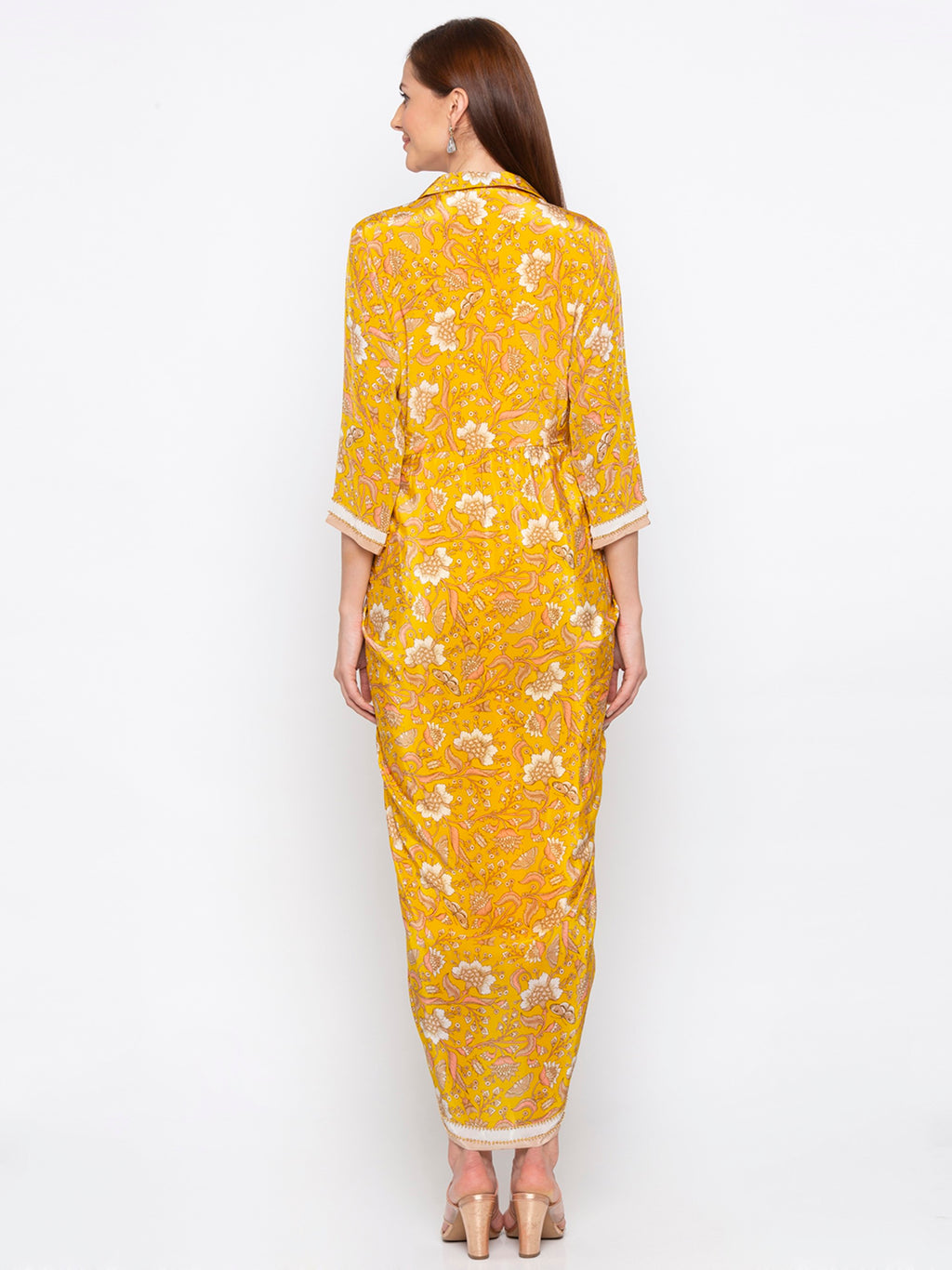 Yellow Printed Wrap Dress