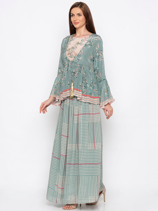Soup By Sougat Paul - Teal Green & Beige Lehenga With Jacket - INDIASPOPUP.COM