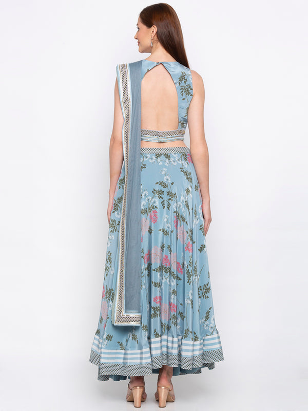 Soup By Sougat Paul - Blue Crop Top With Skirt - INDIASPOPUP.COM