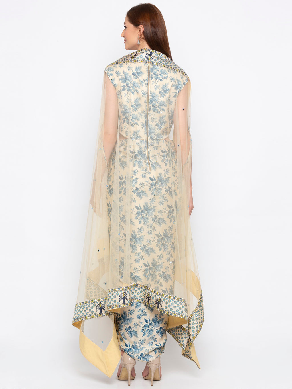 Blue & Off-White Dress With Dupatta