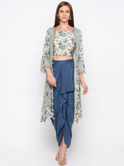 Soup By Sougat Paul - Off-White Top & Jacket With Blue Skirt - INDIASPOPUP.COM