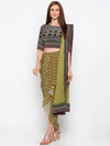 Soup By Sougat Paul - Green & Blue Crop Top Skirt With Dupatta - INDIASPOPUP.COM
