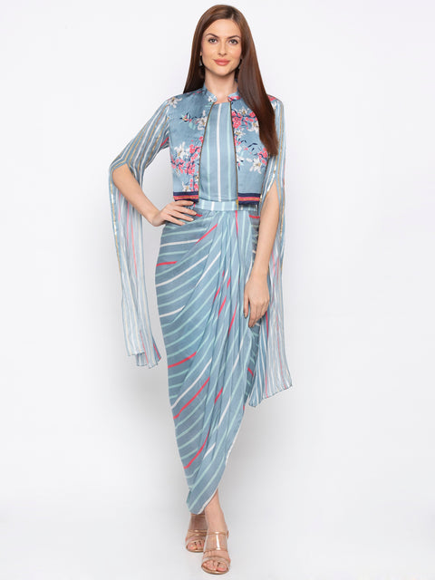 Soup By Sougat Paul - Blue & Pink Dress With Jacket - INDIASPOPUP.COM
