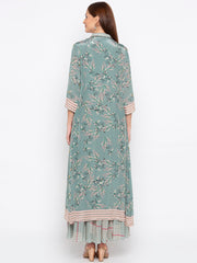 Soup By Sougat Paul - Teal Green & Beige Dress With Jacket - INDIASPOPUP.COM