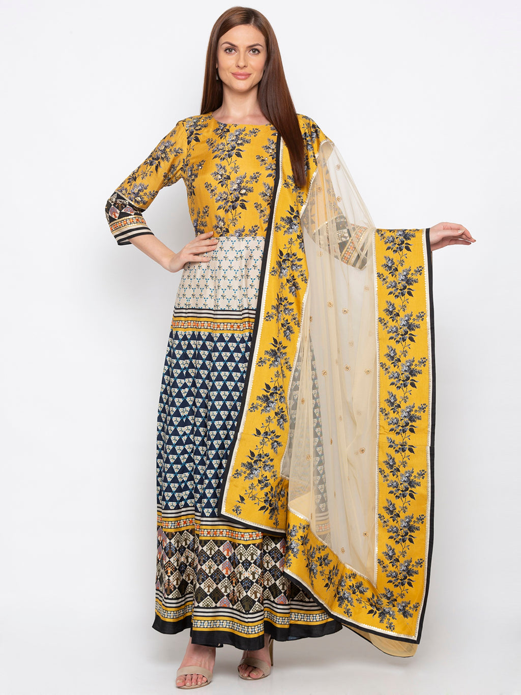 Navy Blue & Yellow Dress & Dupatta