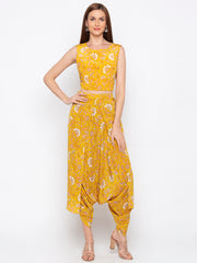 Soup By Sougat Paul - Yellow Crop Top & Dhoti With Jacket - INDIASPOPUP.COM
