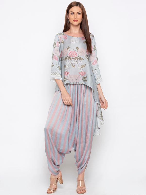 Soup By Sougat Paul - Blue & Pink Dhoti With Top - INDIASPOPUP.COM