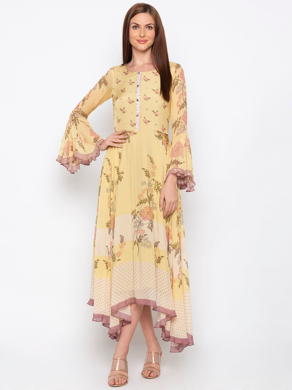 Yellow Long Asymmetric Dress