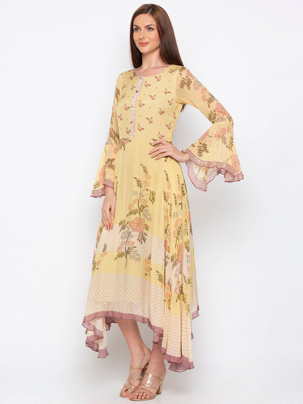 Soup By Sougat Paul - Yellow Long Asymmetric Dress - INDIASPOPUP.COM