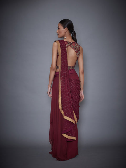 Ri.Ritu Kumar-Wine Embroidered Saree With Stitched Blouse-INDIASPOPUP.COM