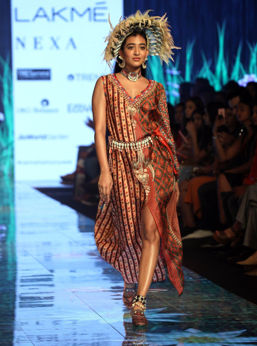 Rajdeep Ranawat-Rust Silk Kaftan Dress-INDIASPOPUP.COM