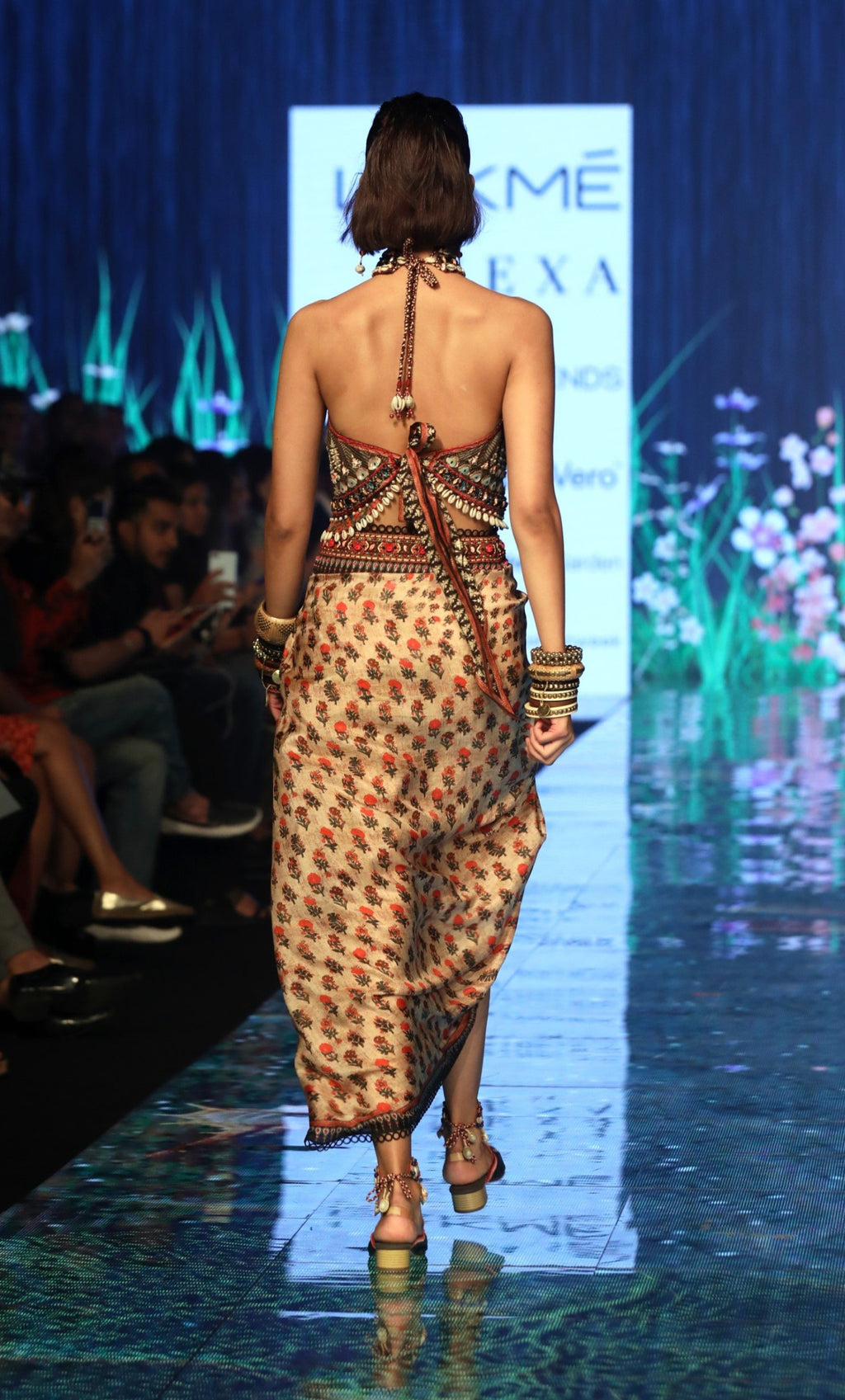 Rajdeep Ranawat-Beige Halter Top With Skirt-INDIASPOPUP.COM