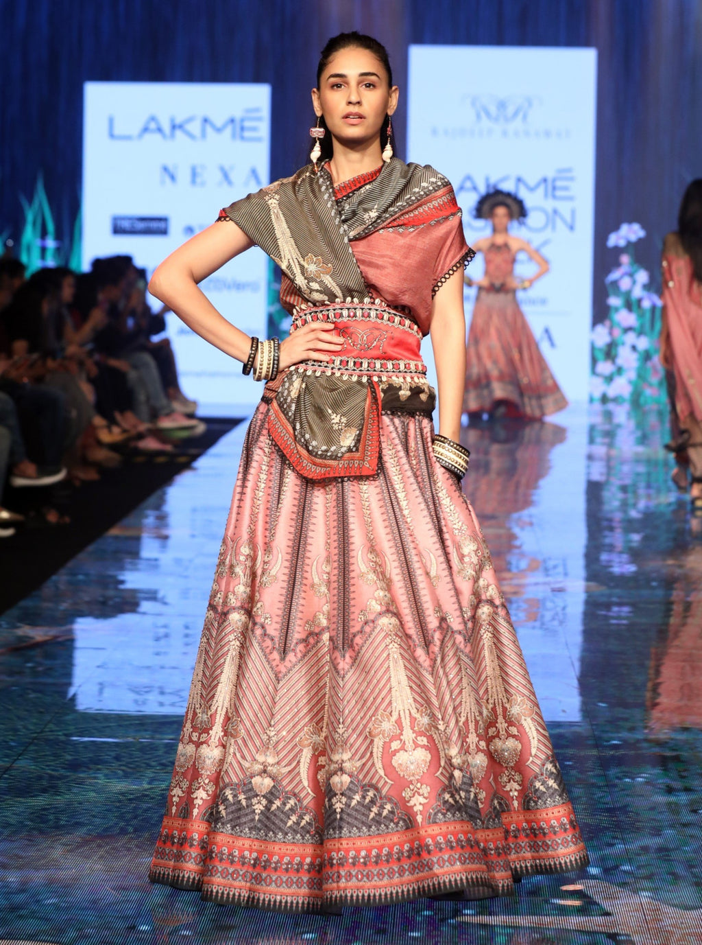 Rajdeep Ranawat-Old Rose Pink Top With Skirt-INDIASPOPUP.COM