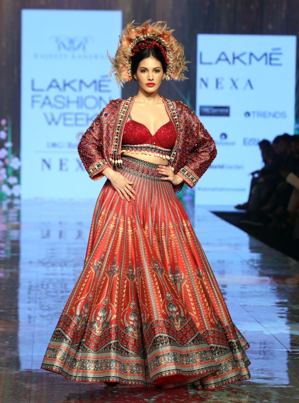 Rajdeep Ranawat-Ruby Red Lehenga Set With Jacket-INDIASPOPUP.COM