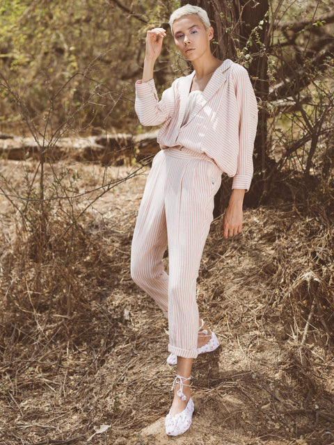 Itr By Khyati Pande-Pink Linear Pants-INDIASPOPUP.COM